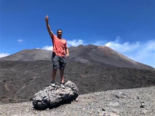 Mr. Piazza on a volcano