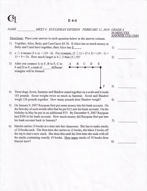 Sample 4th Grade Test